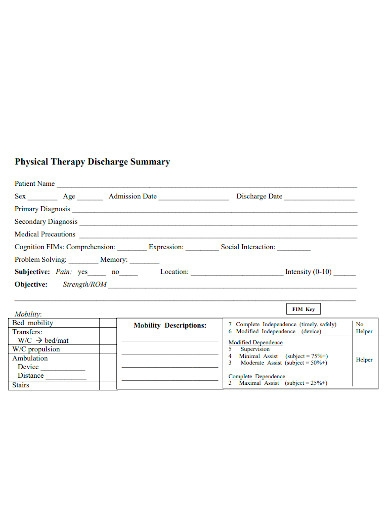 physical therapy hospital discharge summary