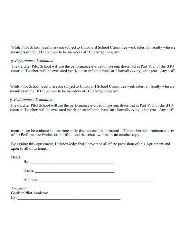 pilot academy teacher agreement form