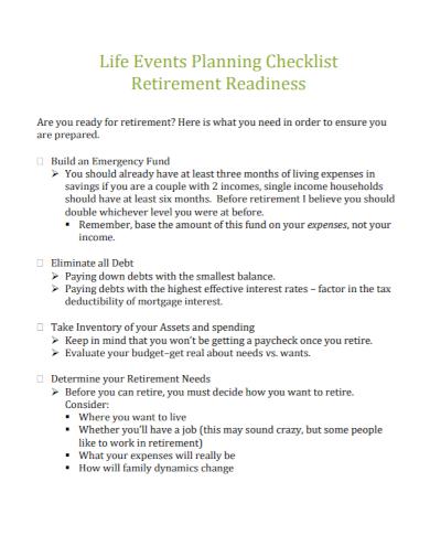 planning checklist retirement readiness