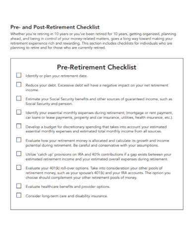pre retirement planning checklist