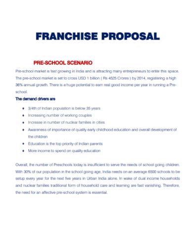 pre school franchise proposal