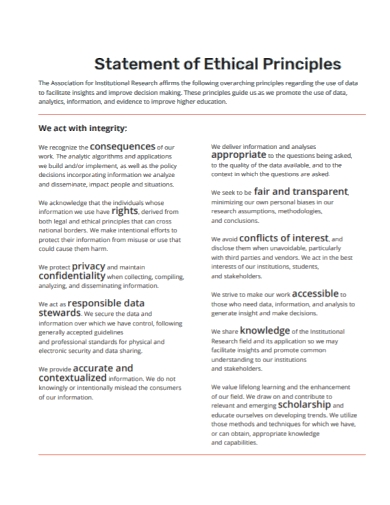 principles ethical statement