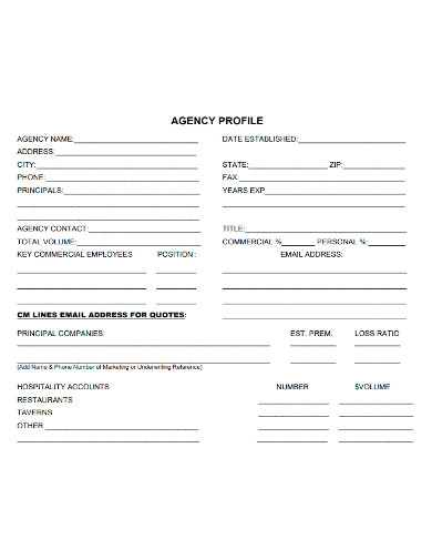 printable agency profile