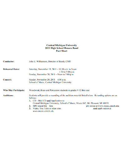 printable band fact sheet