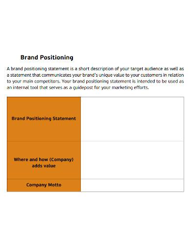 printable brand positioning statement