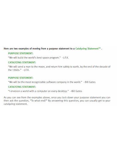 printable business purpose statement