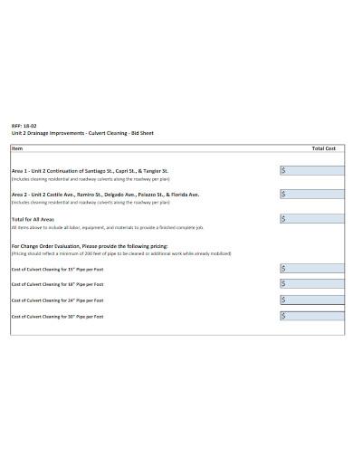 printable cleaning bid sheet