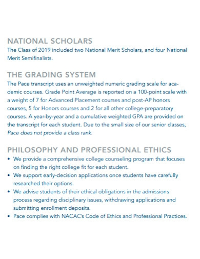 printable college profile