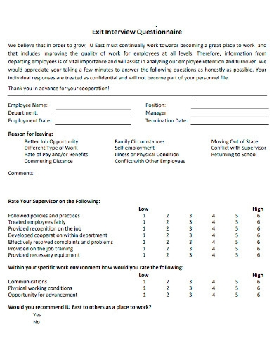 printable exit interview questionnaires