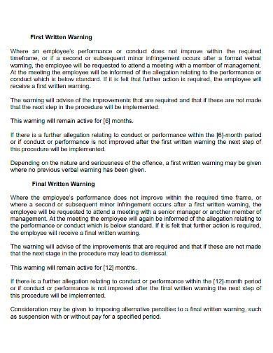 printable first written warning