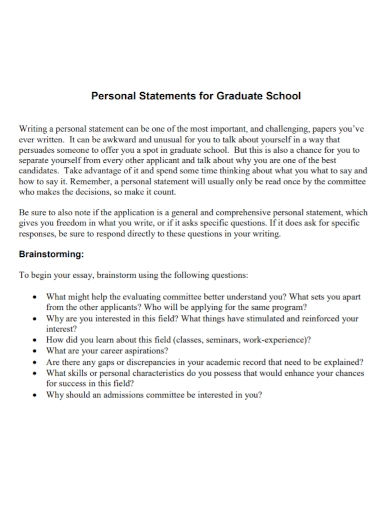 printable graduate school personal statement