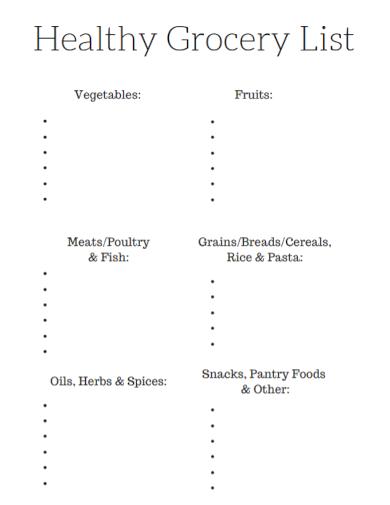 printable healthy grocery list