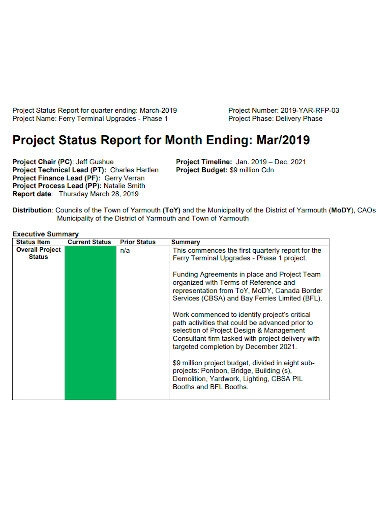 printable monthly project status report