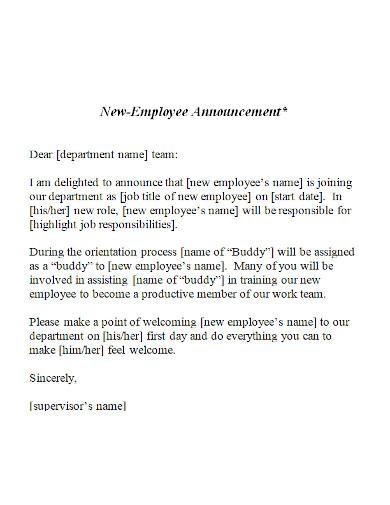 printable new hire announcement letter