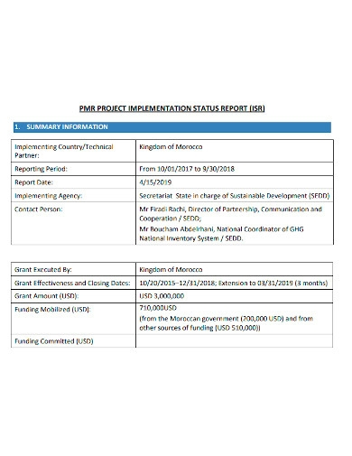 printable project implementation status report