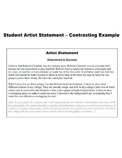 printable student artist statement