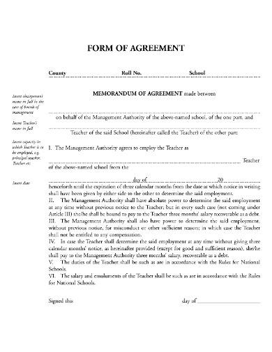 professional teacher agreement form
