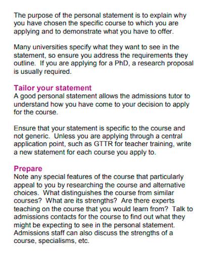 professional university personal statement