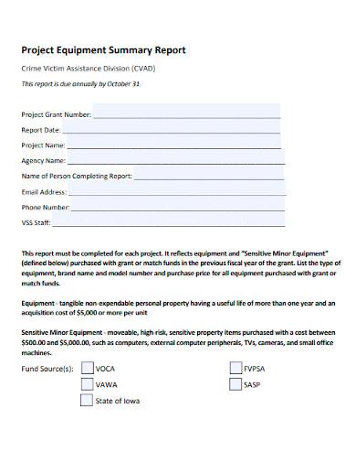 project equipment summary report