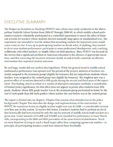 project executive summary report