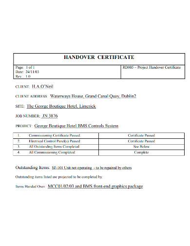 project handover certificate