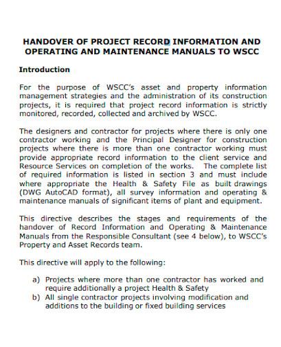 project handovers