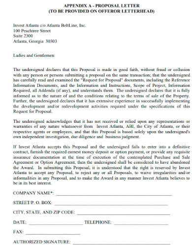 property construction proposal letters