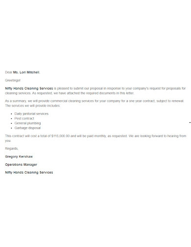 proposal letters for cleaning service samples