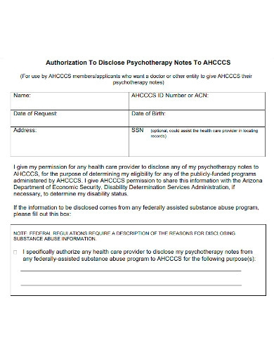 psychotherapy note disclose authorization