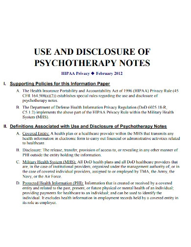 psychotherapy note disclosure