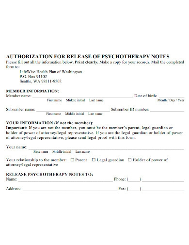 psychotherapy note release authorization