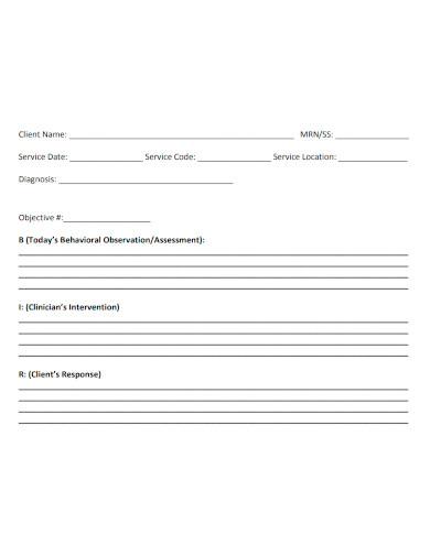 psychotherapy progress note format