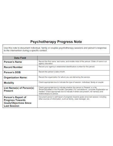 psychotherapy progress note sample
