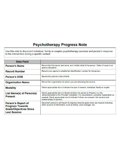 psychotherapy progress note
