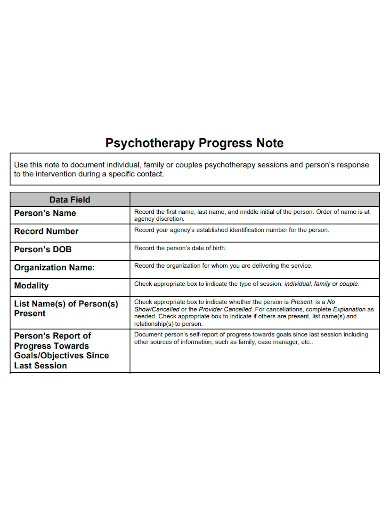 psychotherapy progress notes