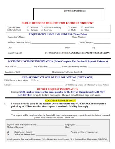 public record police accident request report