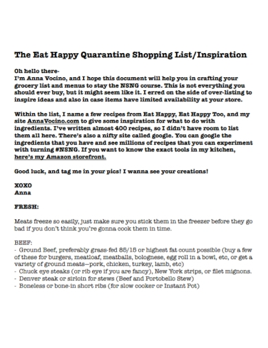 quarantine grocery fresh shopping list