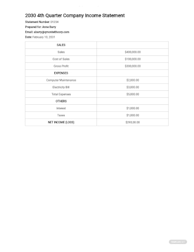 quarterly income statement template