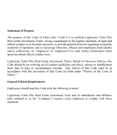 real estate business purpose statement