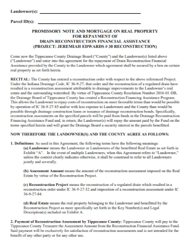 real estate mortgage promissory note