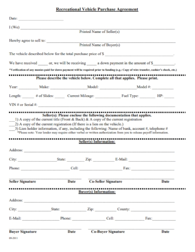 recreational vehicle purchase agreement form