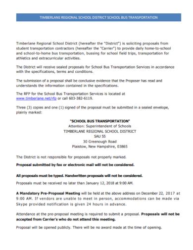 regional school bus transport request for proposal