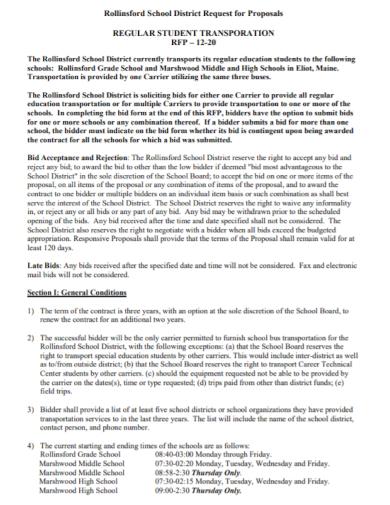 regular student transport request for proposal