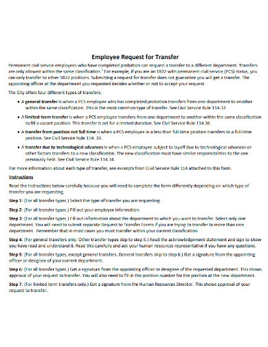 request to transfer employee