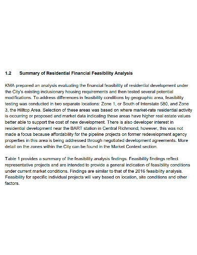 residential financial feasibility analysis