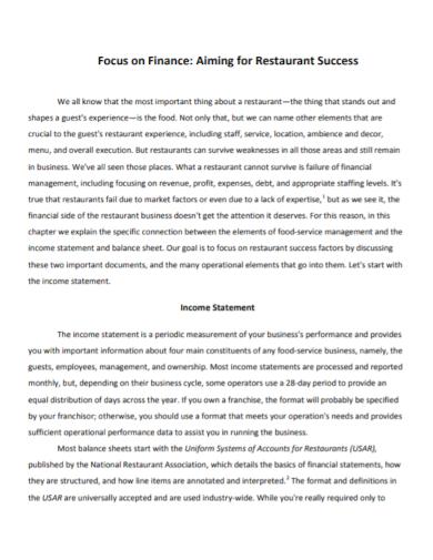 restaurant finance income statement