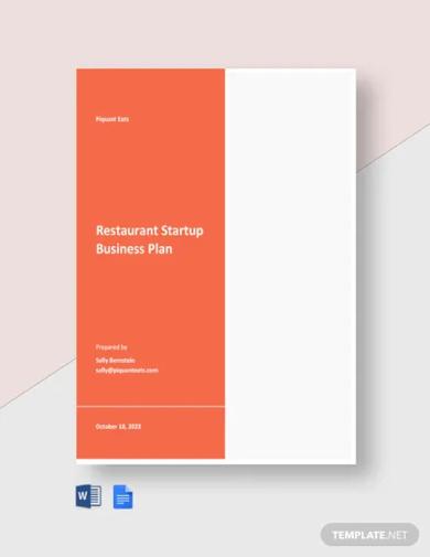 restaurant startup business plan template
