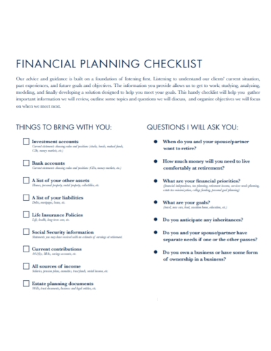 retirement financial planning income checklist