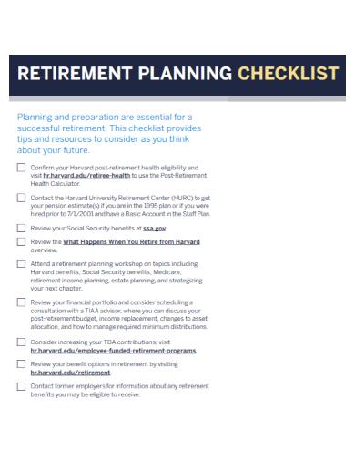retirement planning benefits checklist1