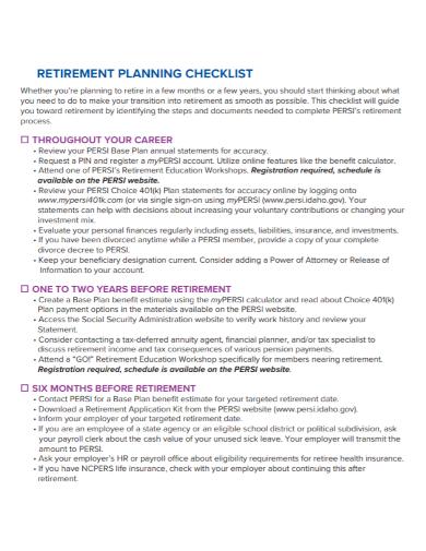 retirement planning schedule checklist